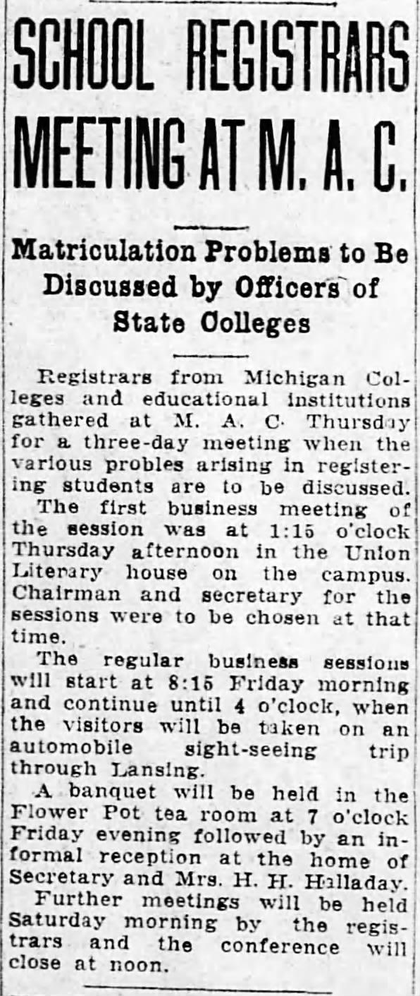 The 1923 MACR meeting was in East Lansing